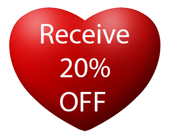 this is a picture of a heart with an offer to receive 20% off